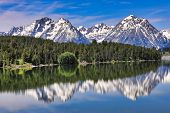 The Grand Tetons in Wyoming are reflected in the still waters of Jackson Lake.  This is a popular va poster