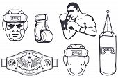 Set Of Different Elements For Box Design - Boxing Gloves, Boxer Man, Boxing Helmet, Punching Bag, Bo poster