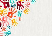 Color Handprint Background Concept, Human Hand Print Illustration For Kid Education, School Learning poster