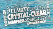 Crystal Clear Clarity Concise Communication Word Collage 3d Illustration poster