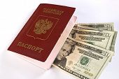 Russian Traveling Passport And Money.