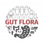 Gut Flora. Line Icons Set. Vector Signs For Web Graphics. poster