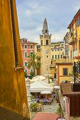 Colorful Facade Of Old Architecture Buildings, Historical Church At Piazza Mottino In Lerici - Ligur poster