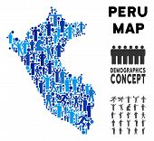 Vector Population Peru Map. Demography Composition Of Peru Map Designed Of Crowd With Variable Posit poster