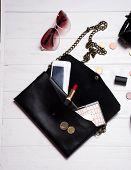 Fashion Design Woman Accessories Set. Trendy Fashion Handbag Clutch Clothes And Fashion Shoes Luxury poster