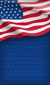 Closeup American Flag On Starry Blue Background. Usa Country Day Celebration Flyer With Space For Te poster
