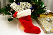 Christmas Stocking Full Of Cash