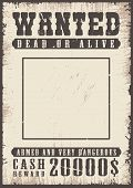 Wanted Vintage Poster Template. Vector Grunge Illustration poster