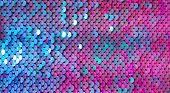 Abstract Colorful Texture Scales With Bright Sequins Close-up. Glamor Background With Shiny Blue, Pu poster