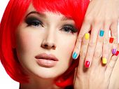 Closeup face of a beautiful  girl with bright multicolor nails. Gorgeous and stunning  woman with bo poster