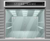 Template For Advertising 3d Store Front Facade. Realistic Exterior Horizontal Empty Shop With Shelve poster