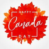 Happy Canada Day Lettering On Maple Leaf Banner. Canada Day, National Holiday 1st Of July With Vecto poster