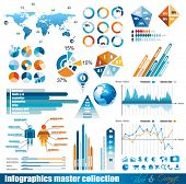 Premium infographics master collection: graphs, histograms, arrows, chart, 3D globe, icons and a lot