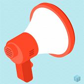 Megaphone Vector Isometric Isolated Flat Design Web Mobile Icon Template. Sign  And  Symbol For Mess poster