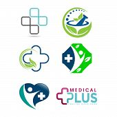 Set Of Medical Logo, Medical Center Logo,heart Logo, Health Logo, Doctor Logo, Medicine Logo, Medica poster