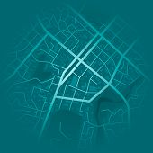 Print With Town Topography. Abstract Blue City Map. City Residential District Scheme. City District  poster