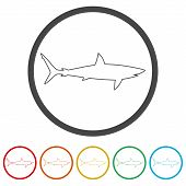 Shark Sign, Shark Icon, 6 Colors Included, Simple Vector Icons Set poster