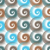 Spiral Swirls Blue Brown Complicated Seamless Pattern Vector Design. Round Spiral Scrolls, Circle Sw poster