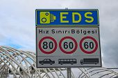 Street Sign In Instanbul. Text On Sign: Speed Limit Zone. Electronic Controlling System (eds) Istanb poster
