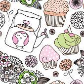 Seamless high tea flower cupcake owl background pattern in vector