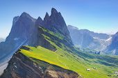 Majestic Mountain Scenery Within Spring Time - Blooming Mountain Slopes Seceda, Dolomites, Italy, Hi poster
