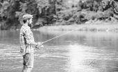Big Size. Successful Fly Fishing. Summer Weekend. Man Catching Fish. Mature Man Fly Fishing. Sport A poster