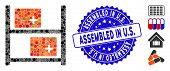 Mosaic Medical Warehouse Icon And Grunge Stamp Seal With Assembled In U.s. Caption. Mosaic Vector Is poster