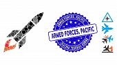 Mosaic Missile Flight Icon And Distressed Stamp Seal With Armed Forces, Pacific Caption. Mosaic Vect poster