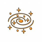 Orange Milky Way Spiral Galaxy With Stars Icon Isolated On White Background. Vector Illustration poster