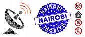 Mosaic Space Antenna Icon And Rubber Stamp Watermark With Nairobi Text. Mosaic Vector Is Composed Wi poster