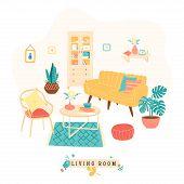Cozy Living, Lounge Room, Trendy Scandinavian Hygge Style. Flat Vector Illustration, Decor. Print Wi poster