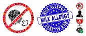 Mosaic No Sneeze Icon And Grunge Stamp Seal With Milk Allergy Caption. Mosaic Vector Is Created With poster
