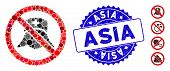 Mosaic No Medical Nurses Icon And Corroded Stamp Seal With Asia Caption. Mosaic Vector Is Created Wi poster