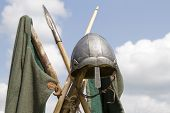 pic of spears  - Viking helmet with spears and green tunic - JPG