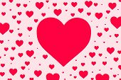 Big Pink Heart On Pink Background With Many Small Pink Heart. Illustration Valentine Day Concept. poster