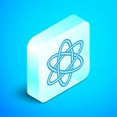 Isometric Line Atom Icon Isolated On Blue Background. Symbol Of Science, Education, Nuclear Physics, poster