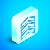 Isometric Line Military Rank Icon Isolated On Blue Background. Military Badge Sign. Silver Square Bu poster