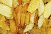 Cooking French Fries. Close-up Of Frying French Fries In A Deep Fryer In Hot Boiling Oil poster