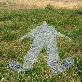 Human Figure Imprinted On Grass