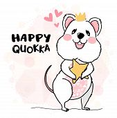 Cute Happy Quokka Wearing Crown Holding Star, Drawing Outline Animal Character Flat Vector Idea For  poster