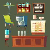 Cartoon Cafe Set - Coffee Machine, Cupboard And Table. Wooden Furniture Elements For Cafeteria Inter poster