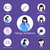 Allergy Symptoms Problem Infographic. poster