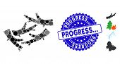 Mosaic Firewood Icon And Distressed Stamp Seal With Progress... Text. Mosaic Vector Is Composed With poster