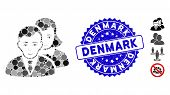 Collage People Icon And Rubber Stamp Seal With Denmark Phrase. Mosaic Vector Is Formed From People I poster