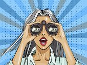Pop Art Surprised Woman With Binoculars With A Dollar Sign, Open Mouth, Surprised Facial Expression. poster