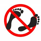 Warning Banner No Bare Feet. Not Allowed Bare Feet. Ban Go Without Shoes Sign Isolated On White Back poster