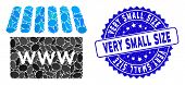 Collage Webstore Icon And Distressed Stamp Watermark With Very Small Size Caption. Mosaic Vector Is  poster