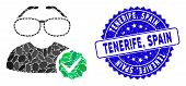 Mosaic For Clevers Icon And Distressed Stamp Seal With Tenerife, Spain Text. Mosaic Vector Is Compos poster