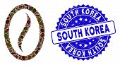 Mosaic Coffee Bean Icon And Grunge Stamp Watermark With South Korea Phrase. Mosaic Vector Is Created poster