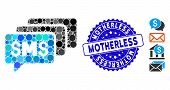 Mosaic Sms Messages Icon And Rubber Stamp Watermark With Motherless Phrase. Mosaic Vector Is Compose poster